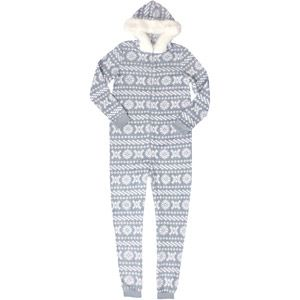 Women's Fur Trimmed Plush One-Piece Hooded Pajamas
