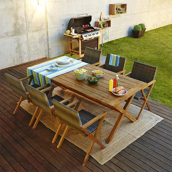 Conjunto de comedor exterior formado por mesa rectangular y seis ...