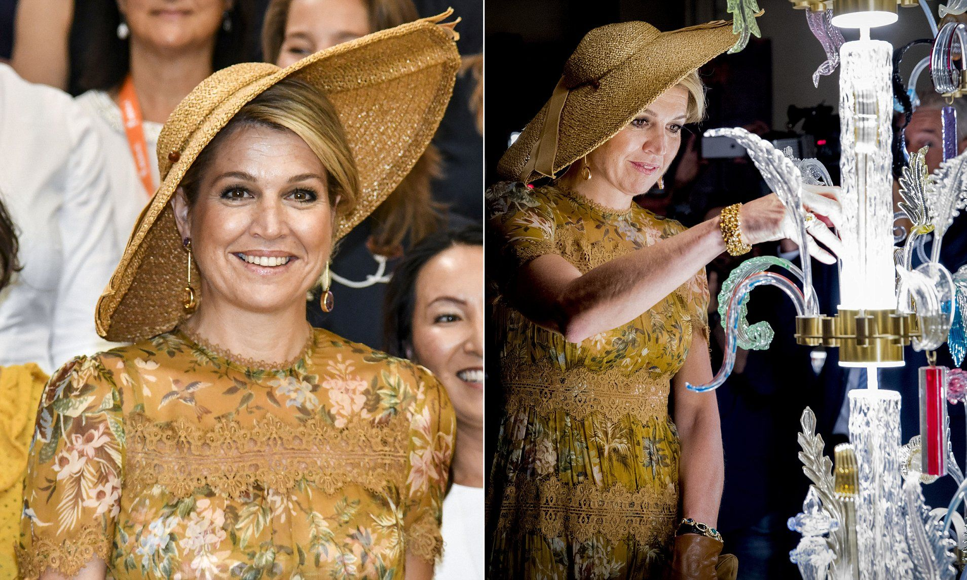 Queen Maxima, 46, was joined by husband King Willem Alexander for a tour of the Galleria Rossanna Orlandi in Milan on Friday.