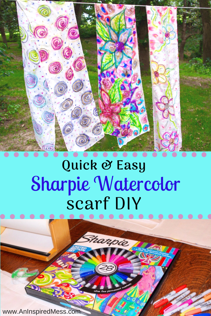 Diy Sharpie Tie Dye Scarf Tutorial Adult Art Craft Projects