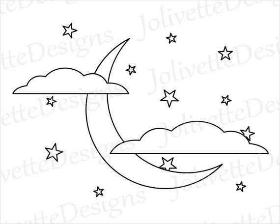 Crescent Moon Clouds Stars Night Sky Clip Art Clipart Etsy In 2021 Clouds Moon Clouds Stars At Night