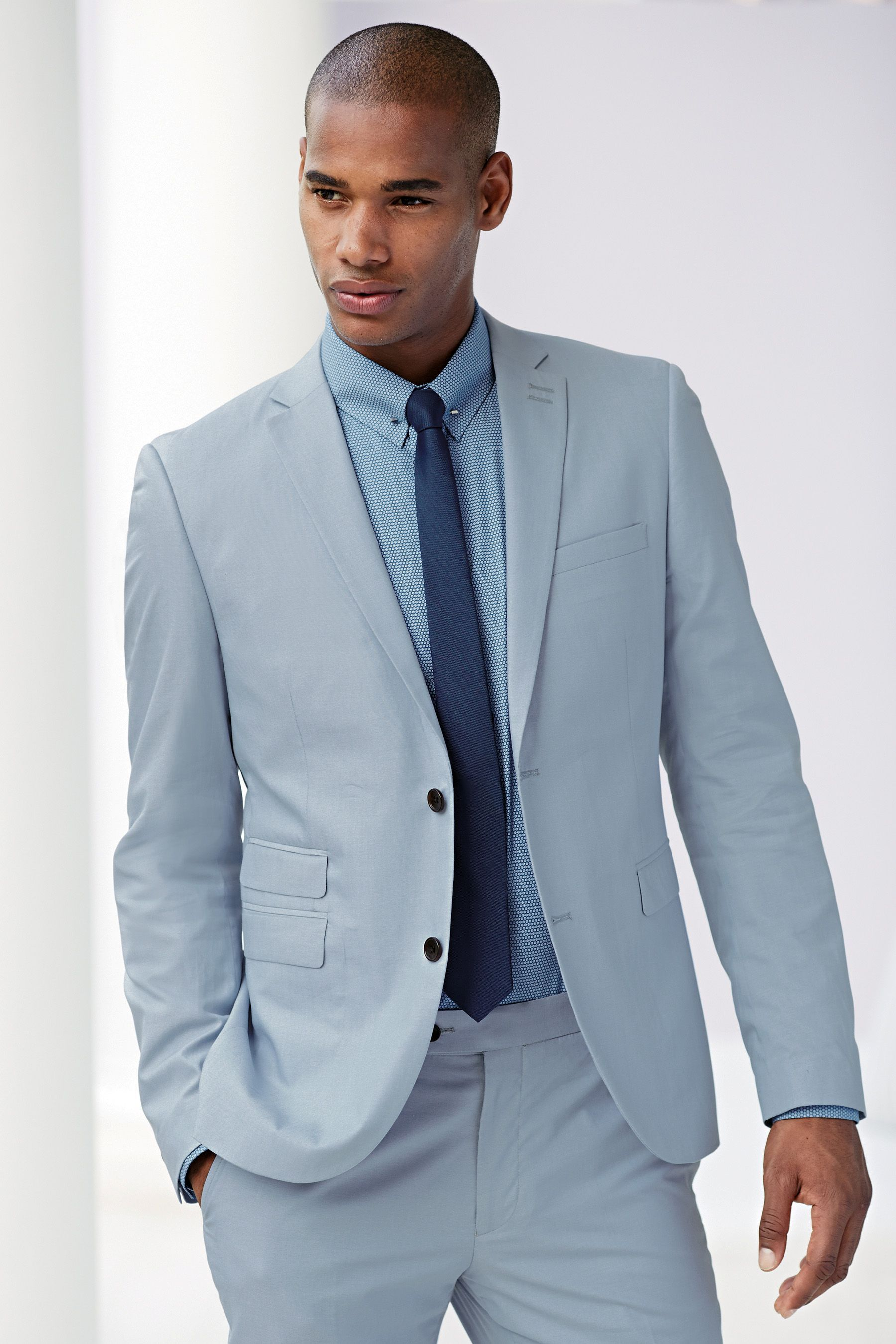 Buy Pale Blue Cotton Skinny Fit Suit: Jacket from the Next UK online ...
