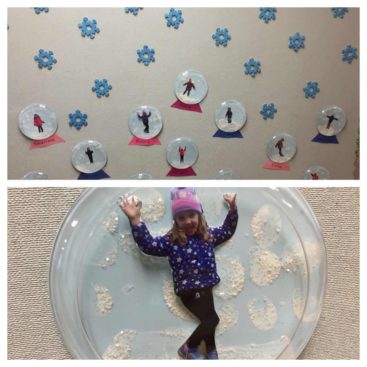 Use white paint to paint a light blue paper plate sprinkle with white glitter add child\u0027s picture and cover with a clear plastic plate. & Easy snowglobe bulletin board. Use white paint to paint a light blue ...