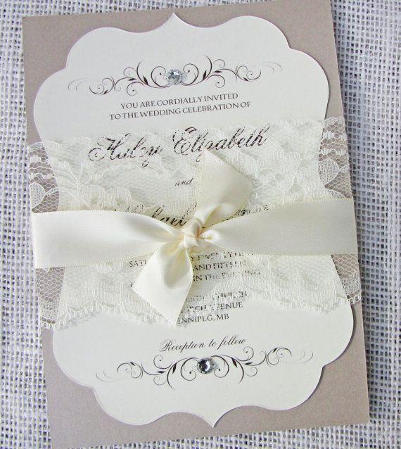 Vintage Handmade Wedding Invitations: Elegant Classic Lace Wedding Invitation, Lace Wedding