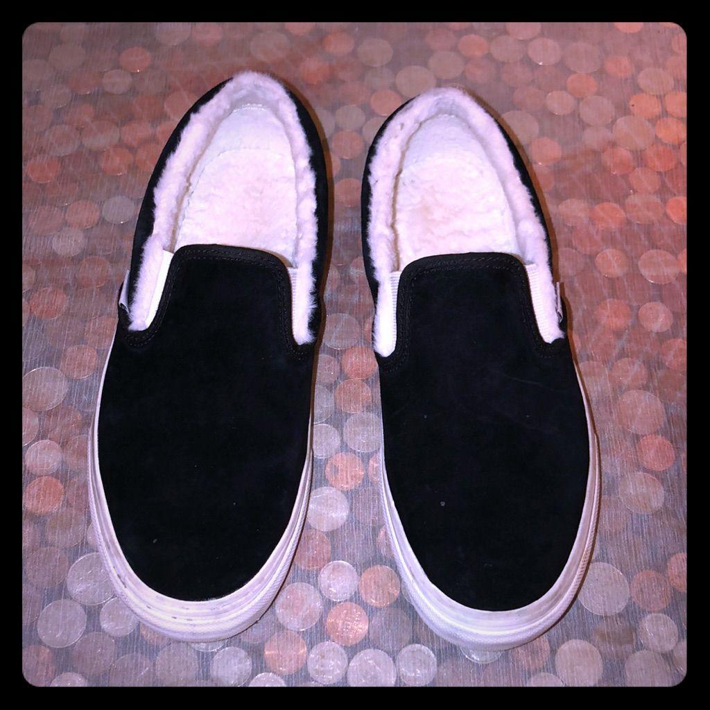 Vans Shoes   Vans Black Suede Fuzzy