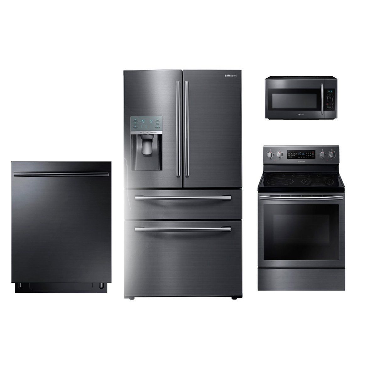 Samsung 4 Piece Electric Kitchen Appliance Package With 28 Cu Ft Refrigerator Black Stainless Steel Appliance Black In 2020 Samsung Kitchen Appliances