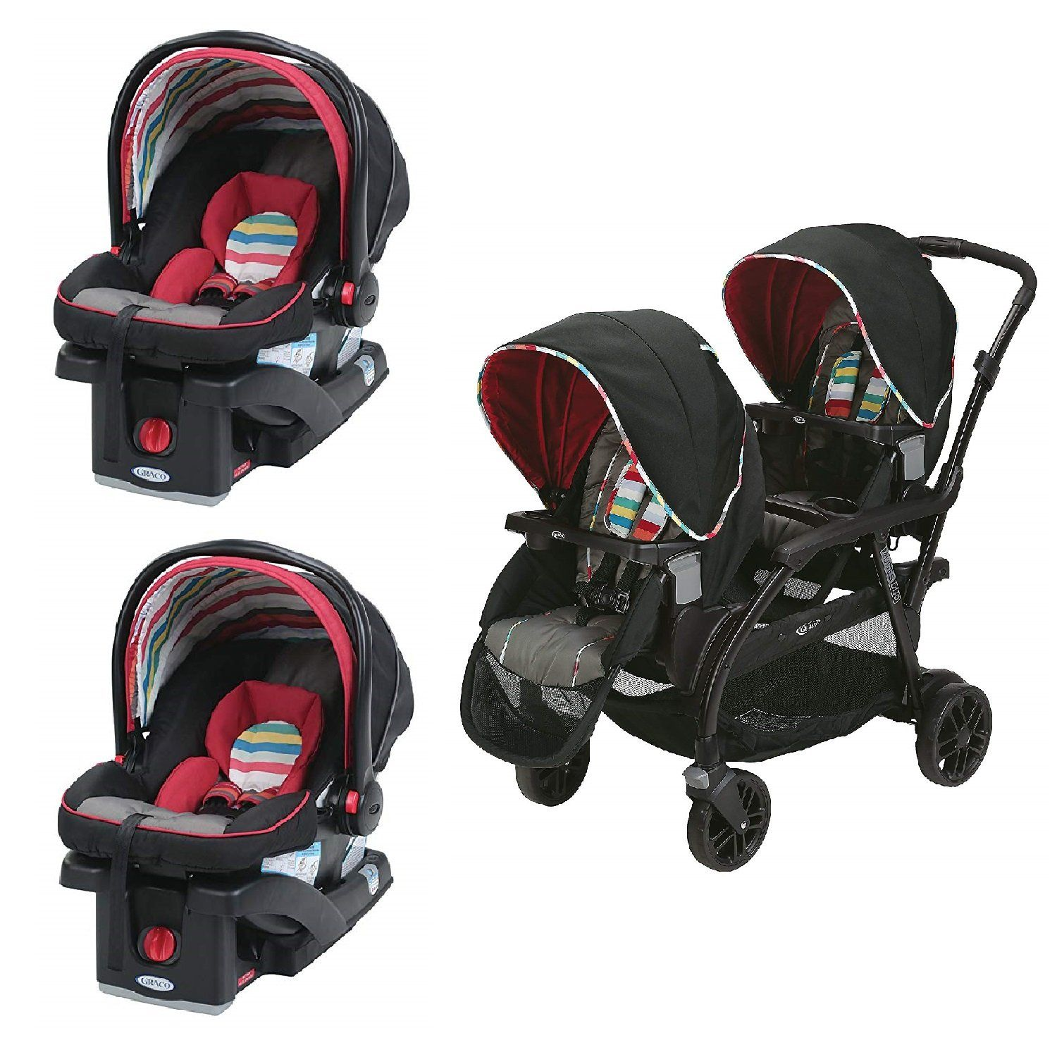 b1b5cfd7b6985 Graco Red Double Seated Twin Stroller with 2 Car Seats Travel System ...