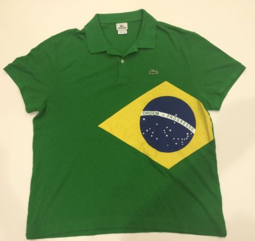 929900c62b590 VINTAGE LACOSTE BRAZIL COUNTRY FLAG FOOTBALL SOCCER POLO SHIRT GREEN  OLYMPIC 8