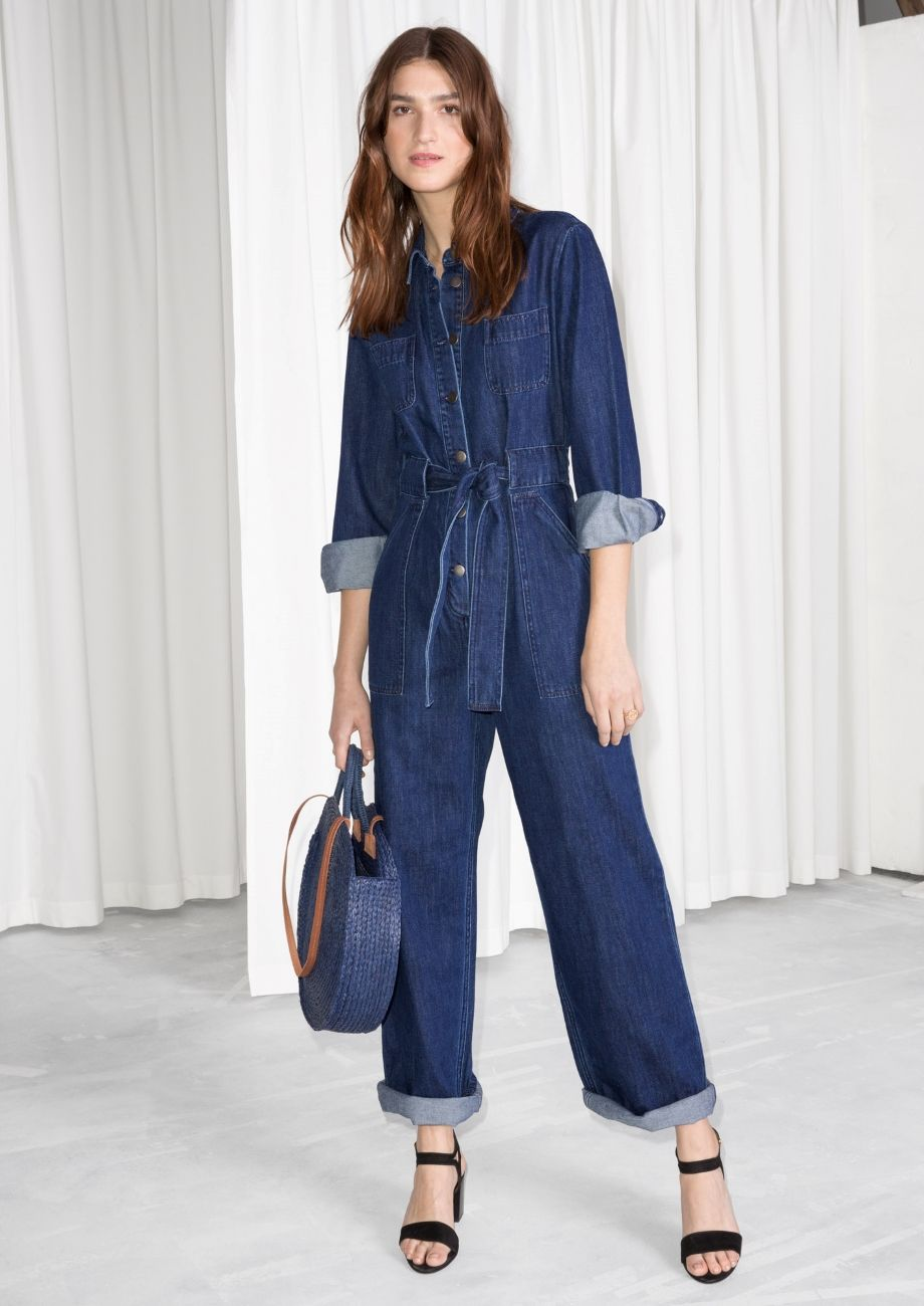 0018d89553ff   Other Stories image 2 of Denim Overall Jumpsuit in Blue Dark ...
