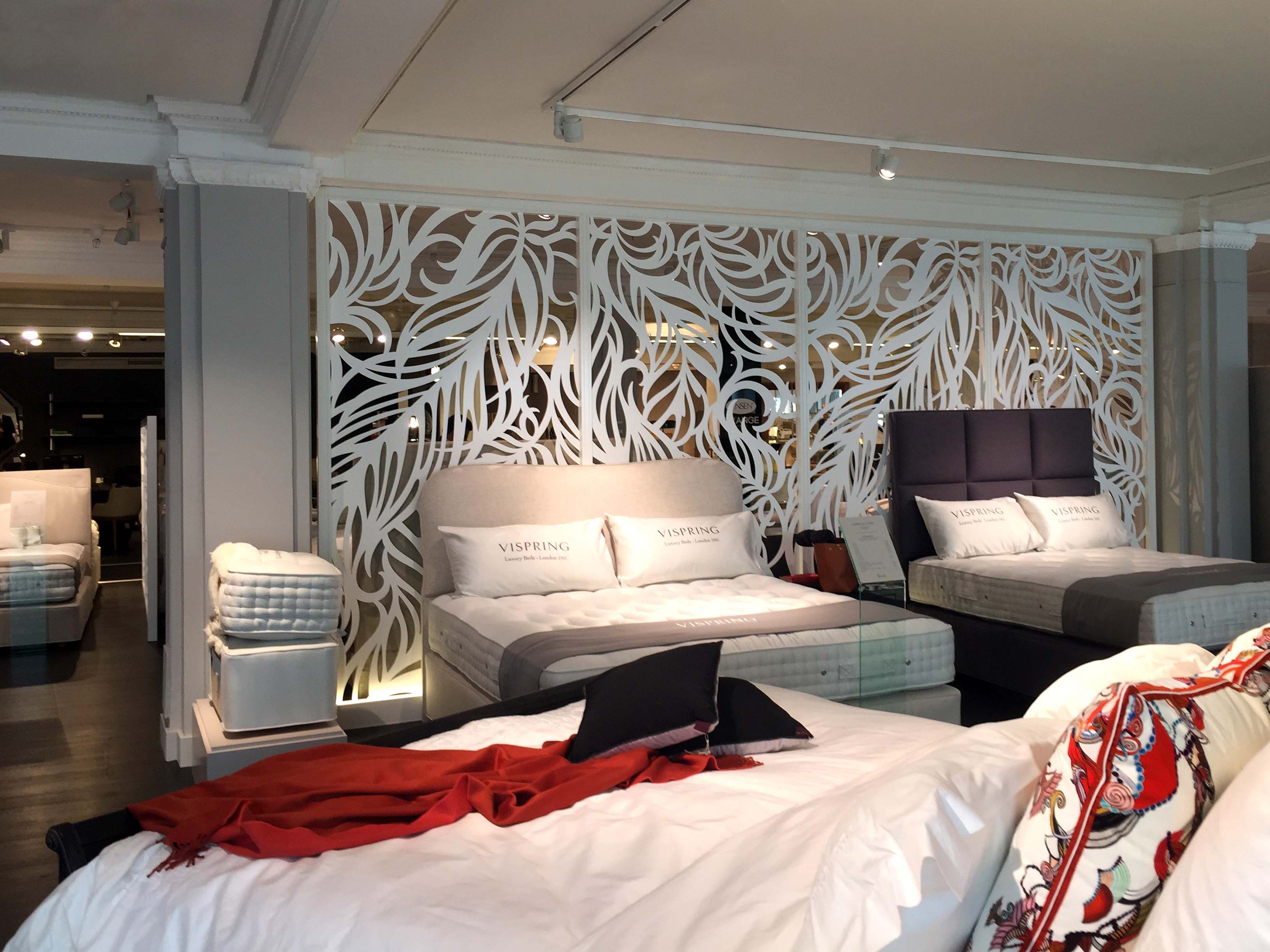 Laser cut screens. Harrods, Knightsbridge London. 3rd Floor Bed studio. Feather design by Miles and Lincoln. www.milesandlincoln.com