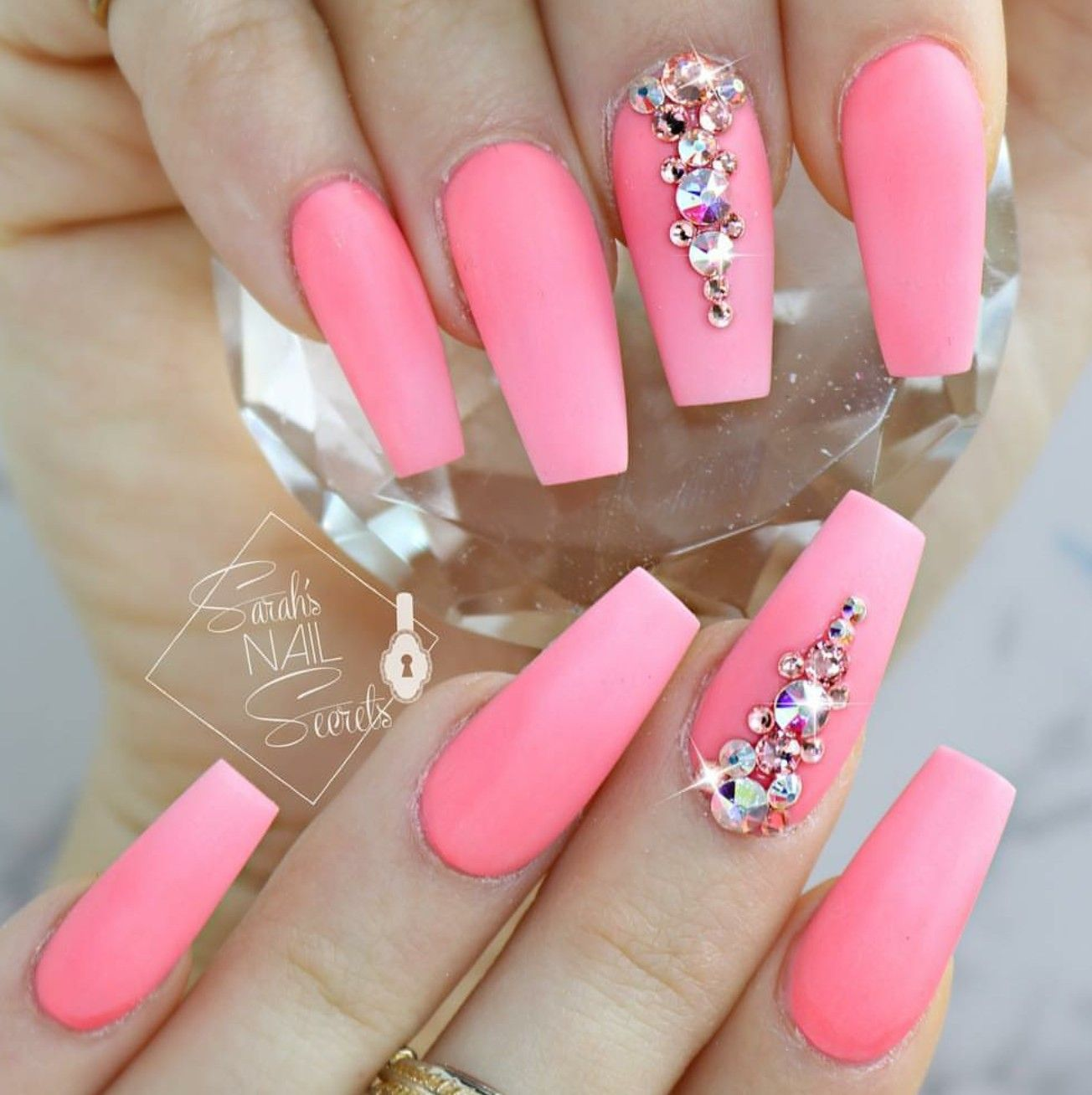 Tapered Square Nails Nails With Rhinestones Matte Nails Summer Nails Rhinestone Nails Nail Designs Dream Nails