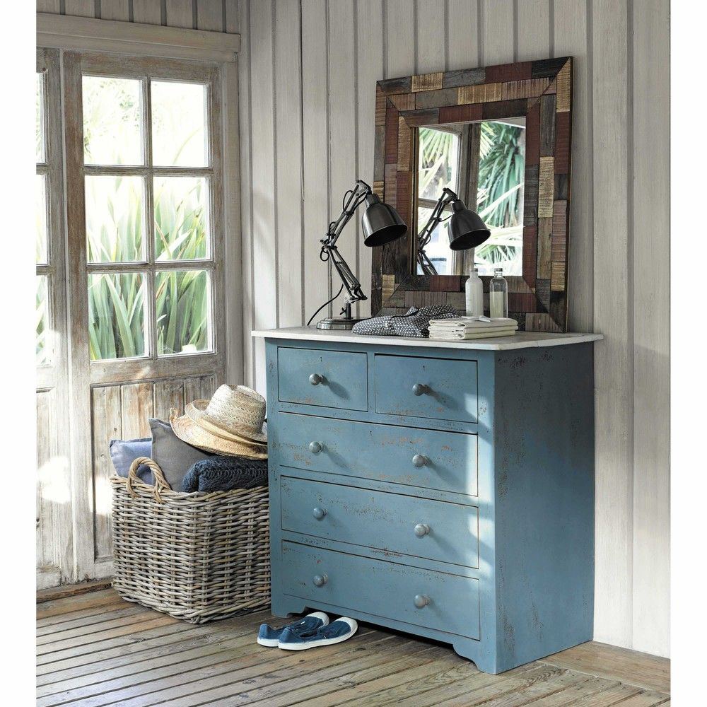 Maisons du monde catalogo 2021. Distressed Mango Wood Chest Of Drawers In Blue W 94cm Maisons Du Monde Wood Chest Dresser As Nightstand Affordable Furniture