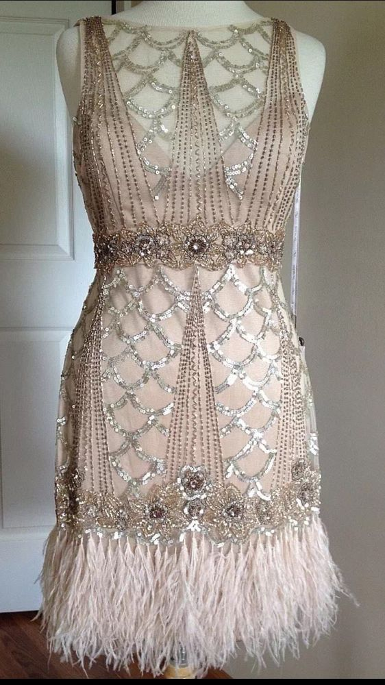 SUE WONG 1920s Gatsby Champagne Beaded Feather Evening Bridal Flapper Dress 10