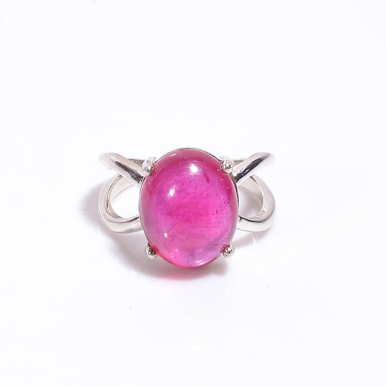 Faceted Oval Cut Red Ruby Ring 4.5 Gram Natural Red Ruby Loose Gemstone Ring 925 Sterling Silver