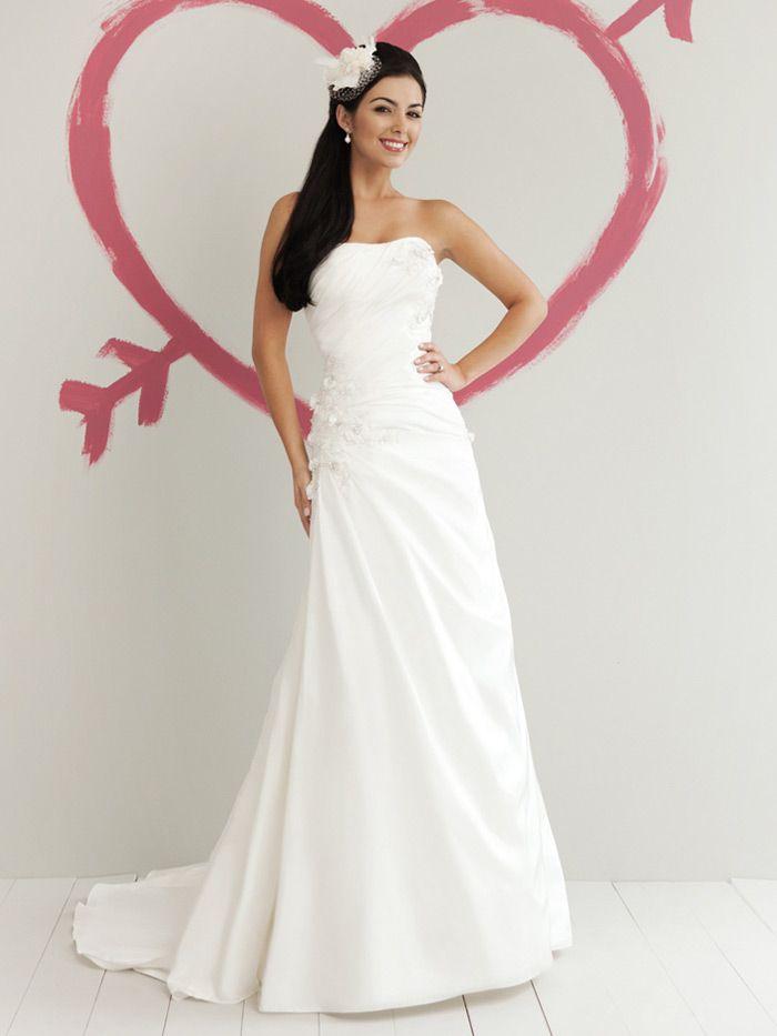 Taffeta Strapless A Line New Spring Wedding Dress Lace Liques Flower Motifs