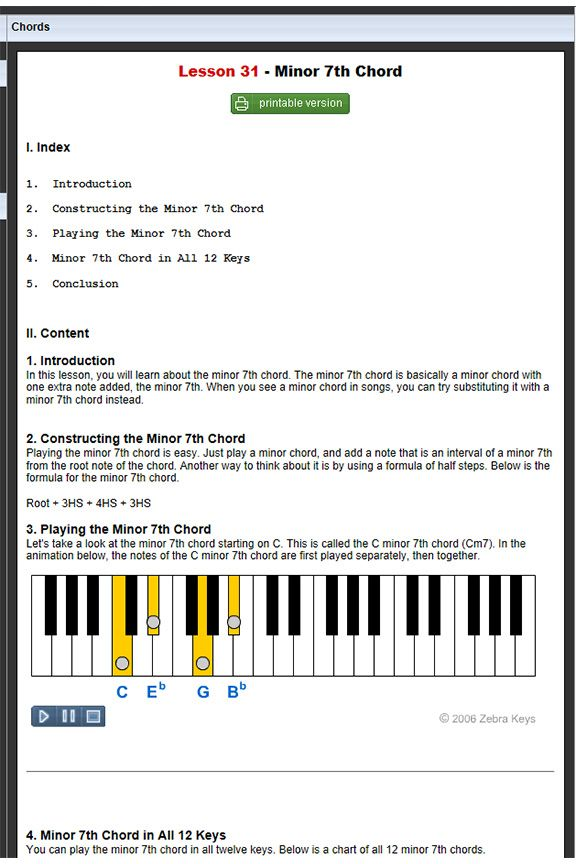 Free Online Piano Lessons Lesson 31minor 7th Chord Learn Chords