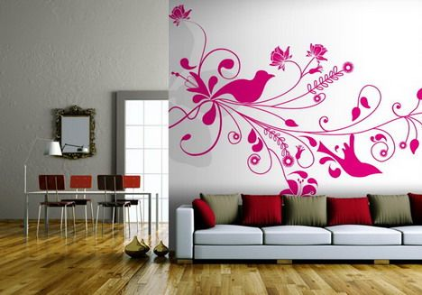 Hot Pink Living Room | Hot Pink Roses Wallpaper Murals Design in ...