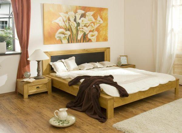 feng shui bett holzbett niedrig gelegen schlafzimmer asiatischer stil