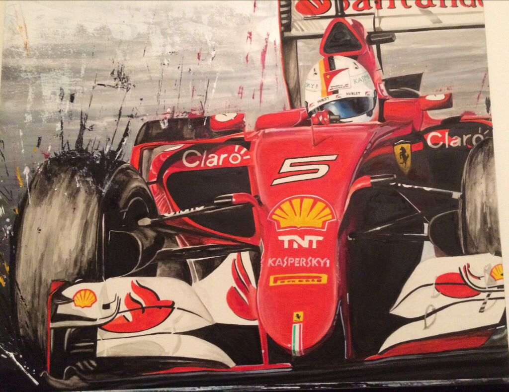 Watercolor Sebastian Vettel Tekenen Auto S