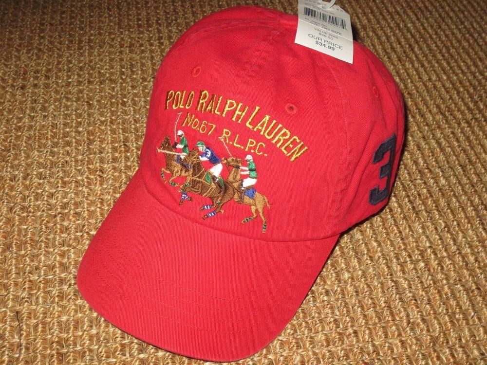 4fcb4a0ad9b POLO RALPH LAUREN MEN S BASEBALL CAP BIG PONY MATCH PLAYER RED NEW   PoloRalphLauren  BaseballCap