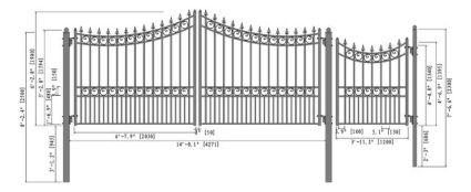 Moscow Iron Dual Swing Driveway Gate W Pedestrian Gate 14 X 6 3 Driveway Gate Diy Storage Shed Plans Courtyard Design