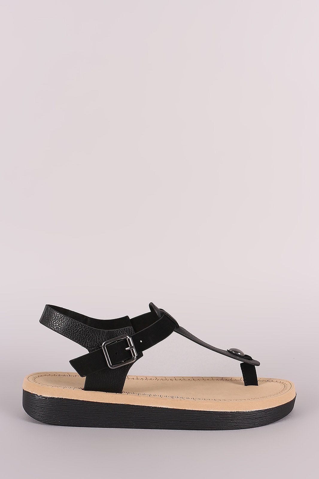 c69e3566115d Bamboo Vegan Leather Flatform Stud Thong Sandal