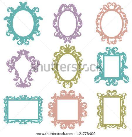 Set of Vector Baroque Frames - stock vector