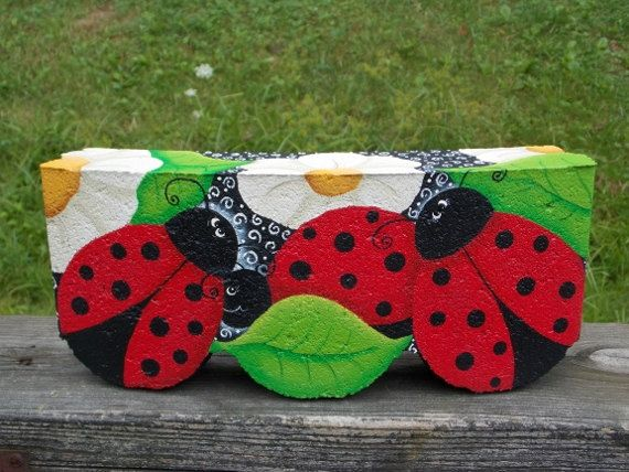 Ladybug Edger Stone (the Patter Is Avail: 13003 Ladybug Landing Edger  Pattern By OilCreekOriginals On Etsy)