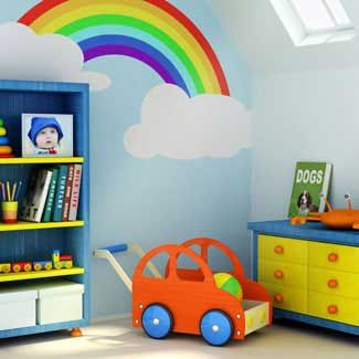 Rainbow Wall Murals For Kids Amusing Kids Room Decor With Mural