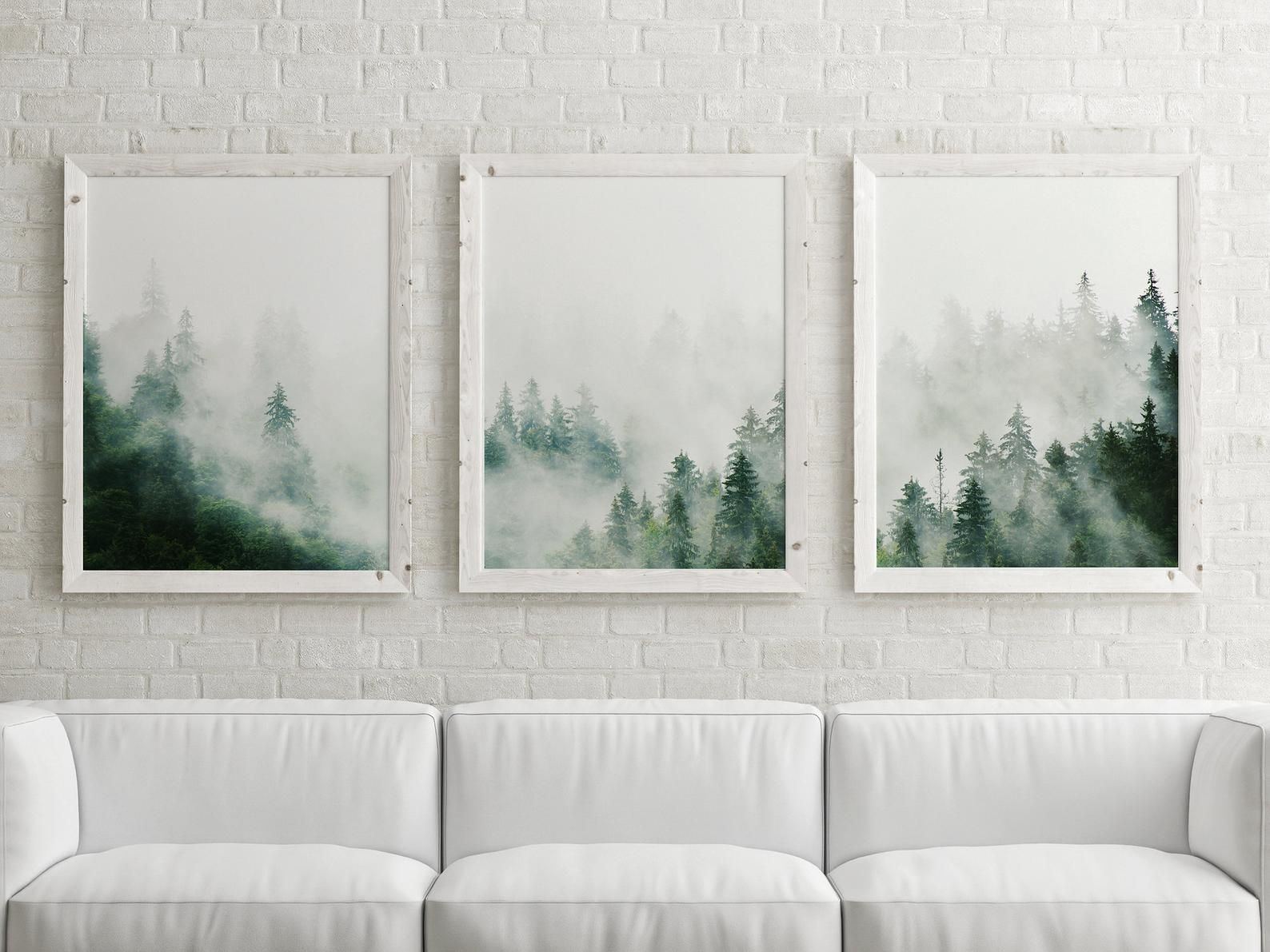 Set Of 3 Forest Prints Foggy Mountain Print Large Wall Art