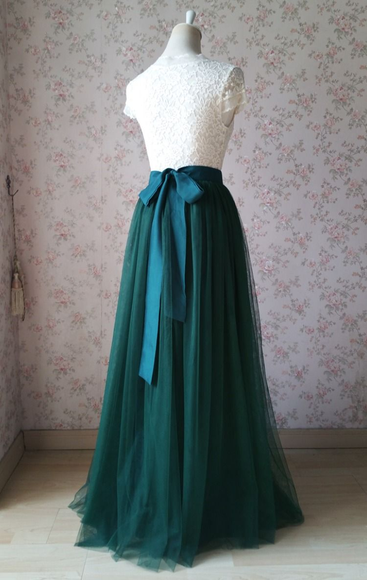 DARK GREEN Tulle Maxi Skirt Outfit Dark Green Wedding Bridesmaid Tulle Skirts, Bow Back  #fullskirtoutfit
