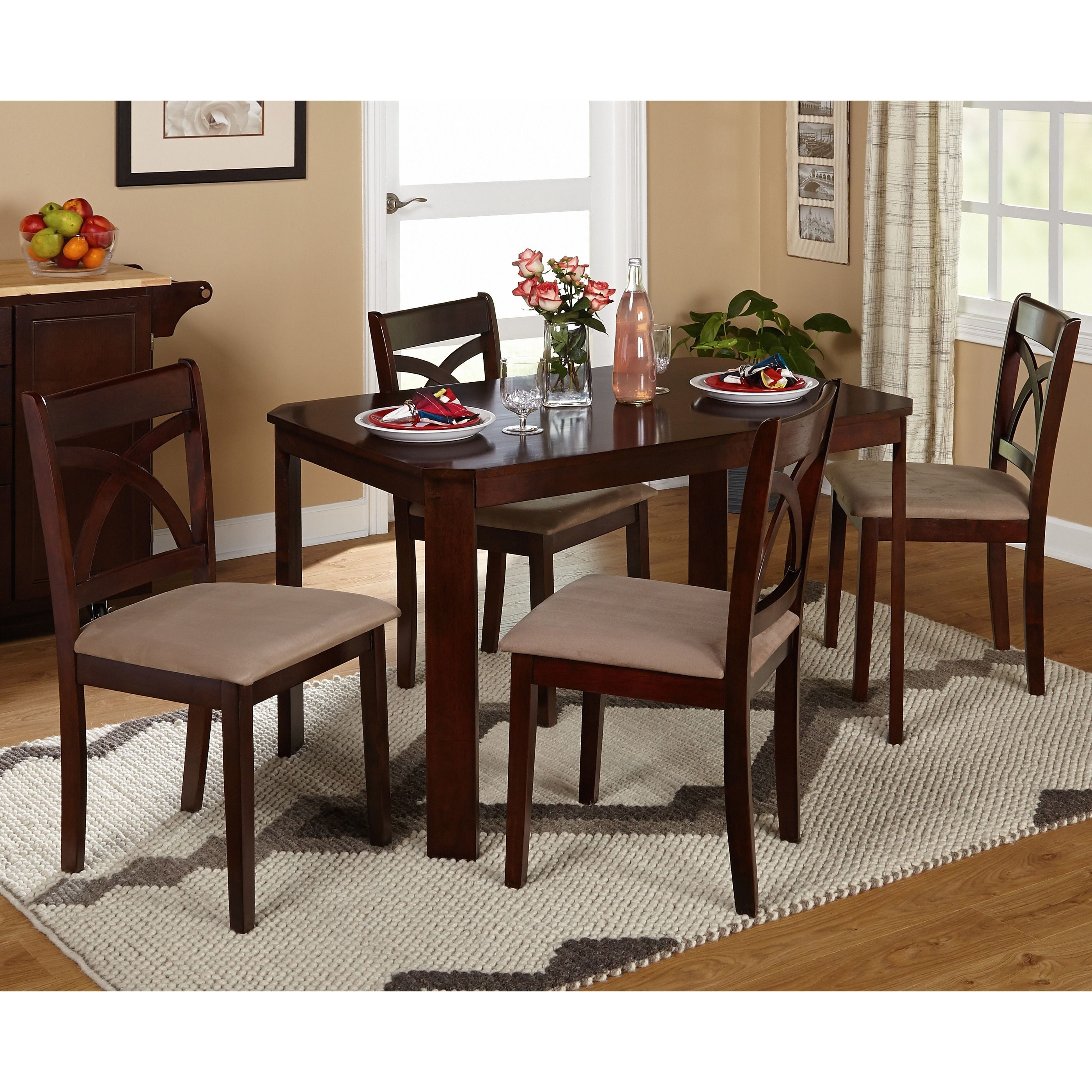 The possibilities are endless when you use white as the base of your color palette for your living room furniture. Simple Living 5-piece Verbena Dining Set (Espresso Finish ...