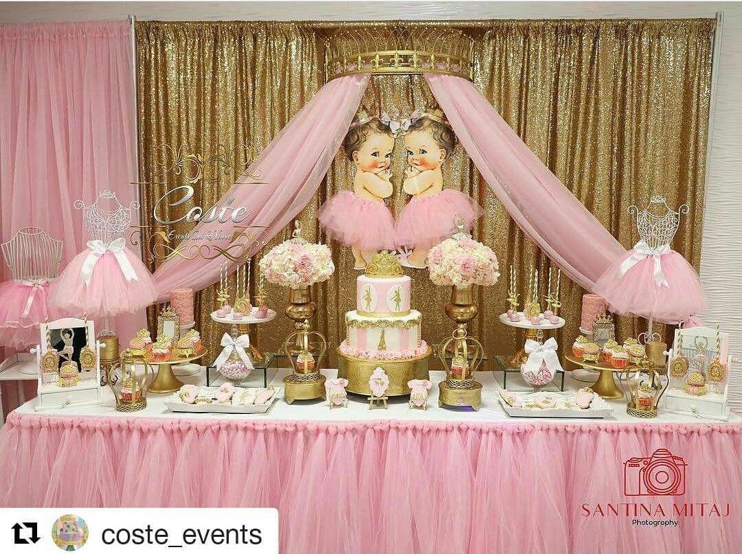 Princess Twin Theme Baby Shower Dessert Table Decor Ballerina Baby Showers Ballerina Baby Shower Theme Baby Shower Princess