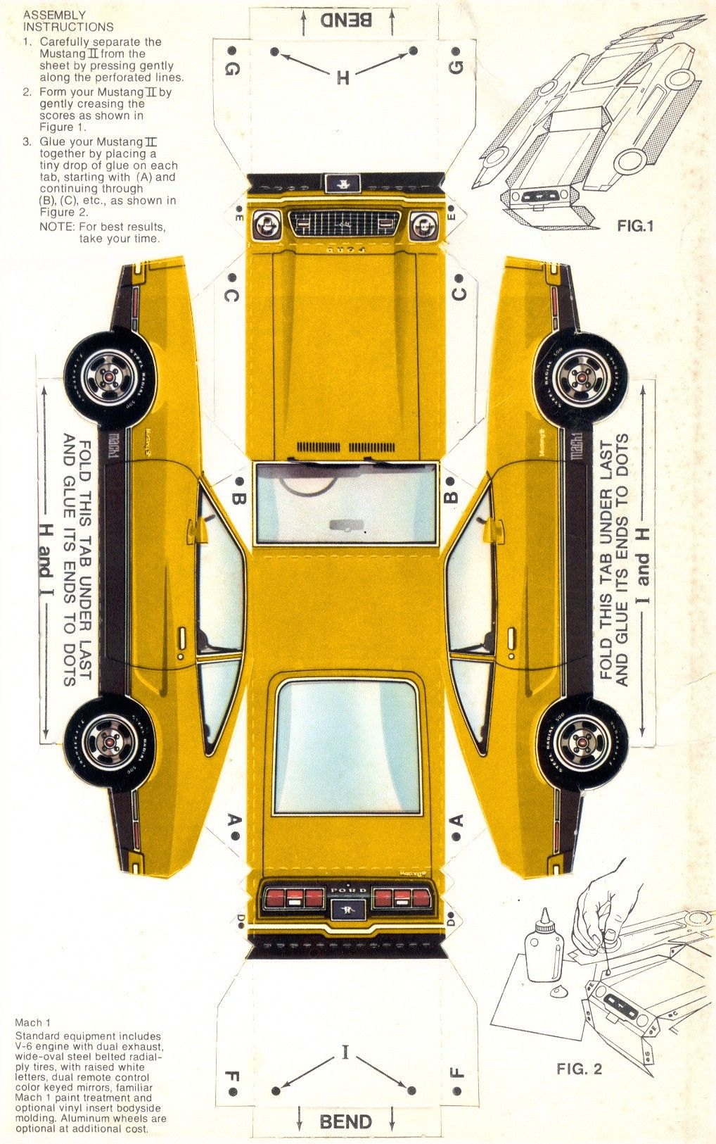 Ford 1974 Mustang In Paper Paper Car Mustang Car Papercraft
