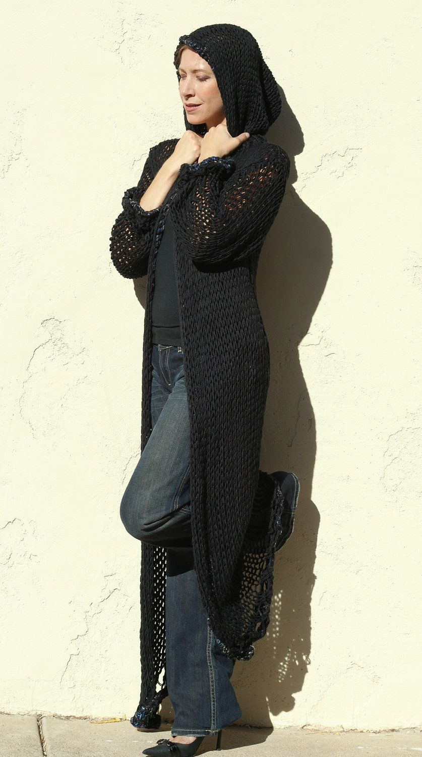 Sophia Black Hooded Long knit Sweater Coat by by evabellaboutique ...