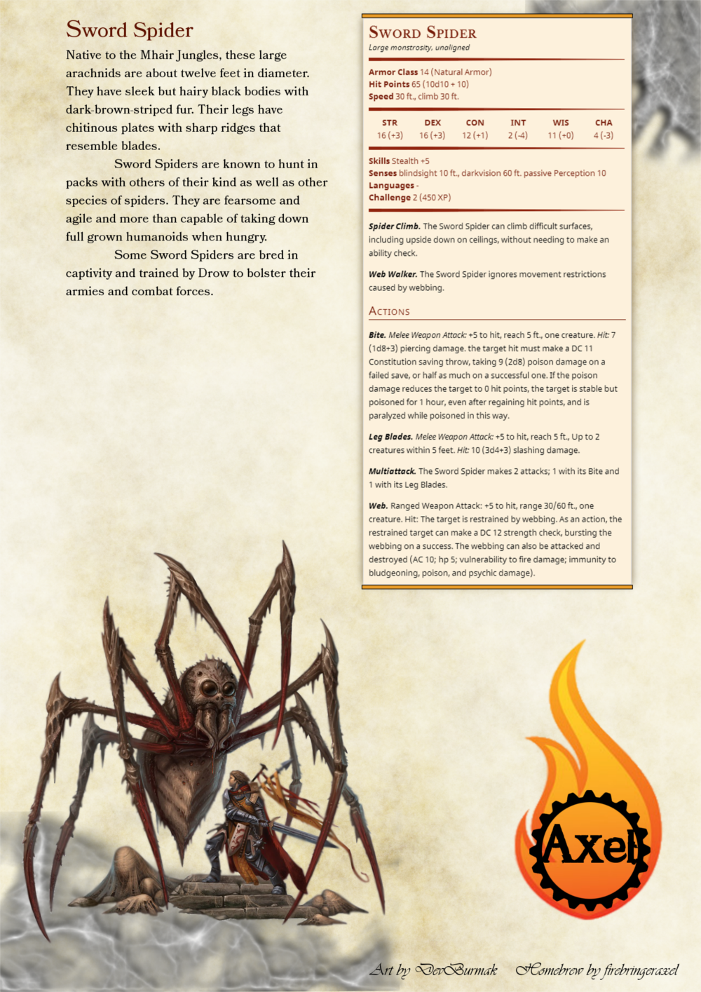 Firebringeraxel's Creations : Photo  Spider stats  CP 2 | monsters