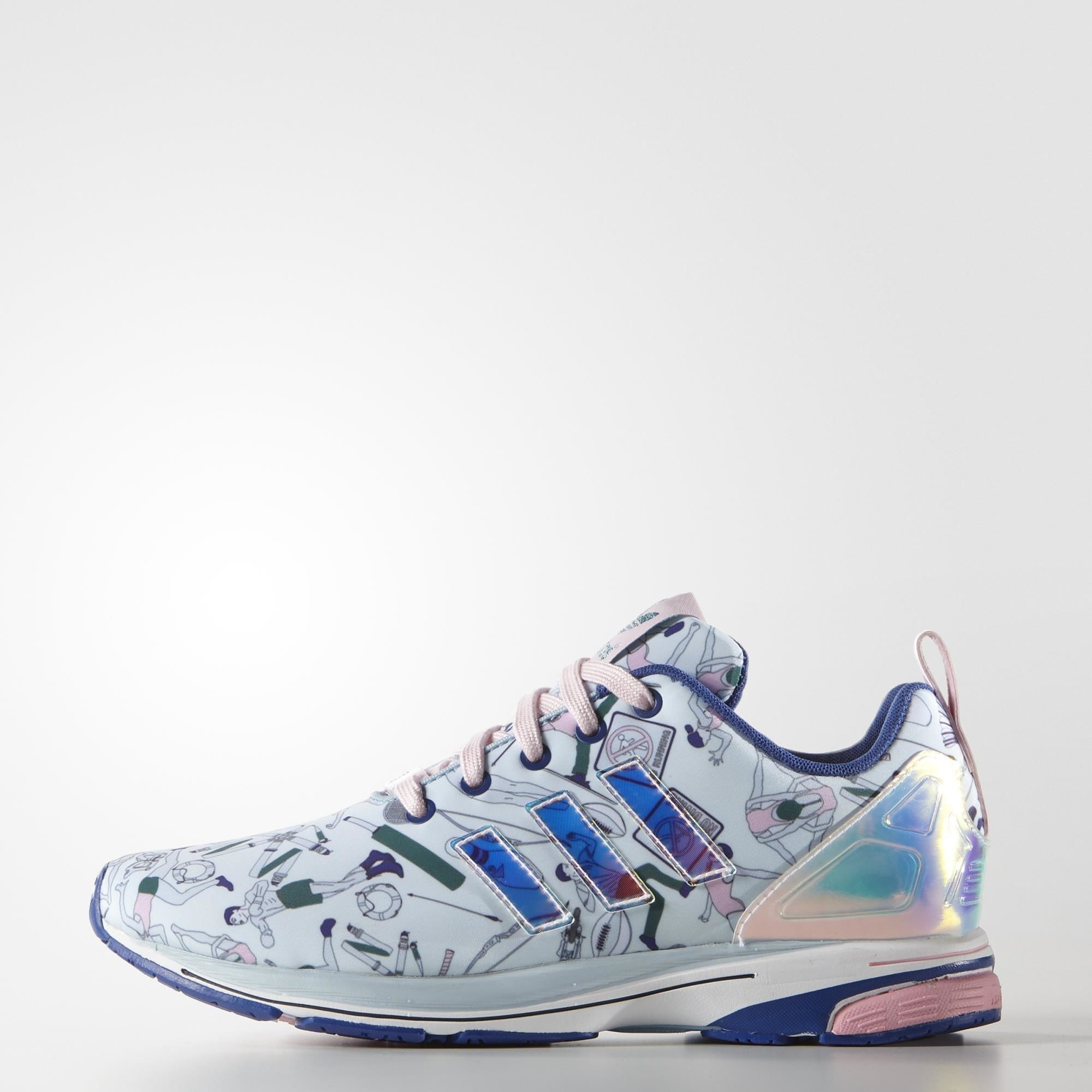 Mary Katrantzou brings her signature digital prints to a collaboration with adidas  Originals. Her version of the women's ZX Flux shoes have a silky upper ...