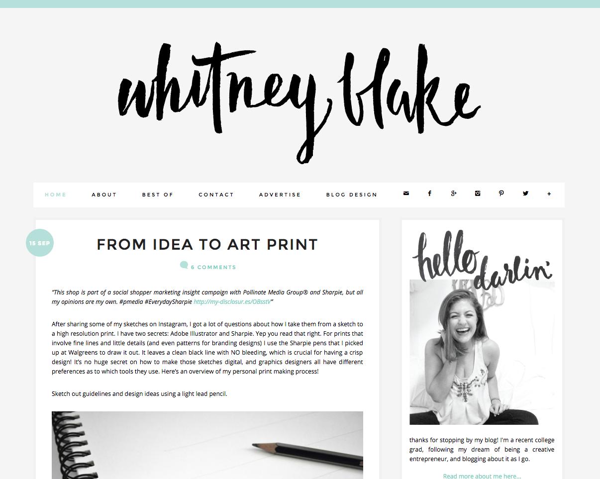 Blog Design and Layout Inspiration Whitney Blake Blog