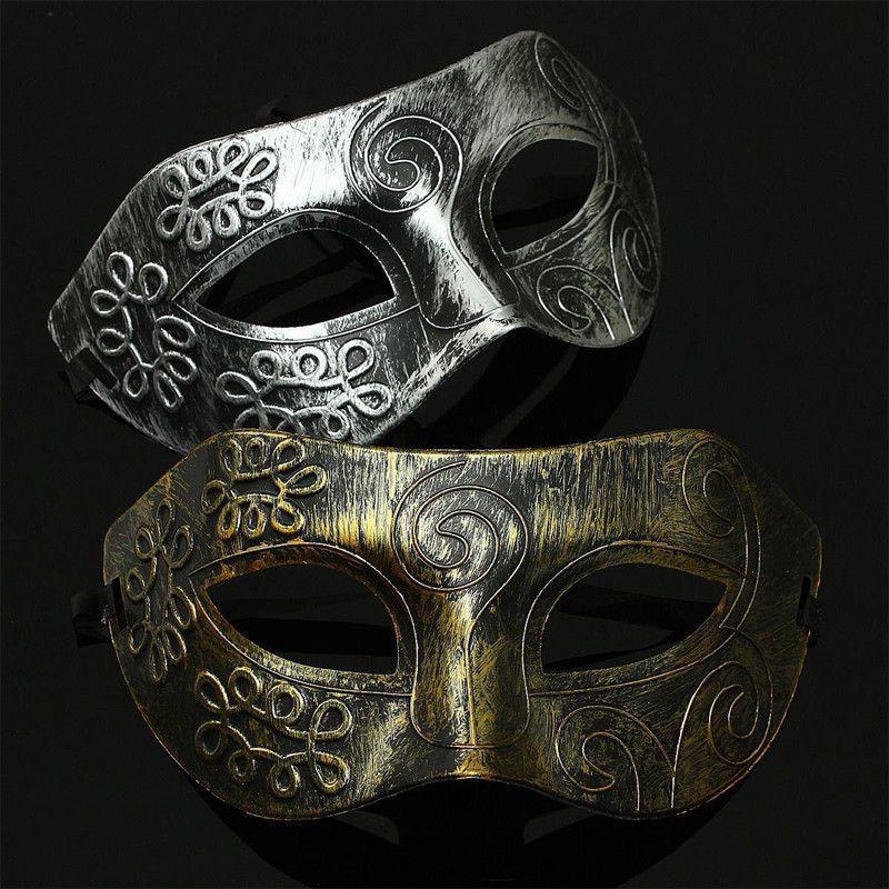 Baroque Retro Roman Gladiator Halloween Party Facial Masquerade Mask Silver