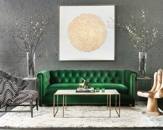 Contemporary Living Room In Green And Gold Dream House
