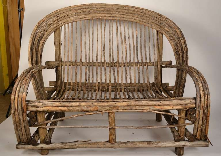 Adirondack Settee, Twig Bench | From a unique collection of antique and modern settees at http://www.1stdibs.com/furniture/seating/settees/