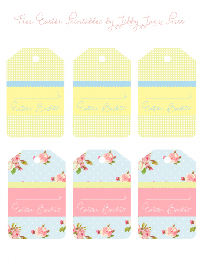 Easter my selection of free easter printables that cute little easter basket tags free the party teacher negle Gallery