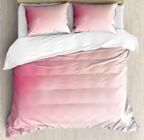 Queen Size 4 Piece Duvet Cover Set Pink Blurred Background