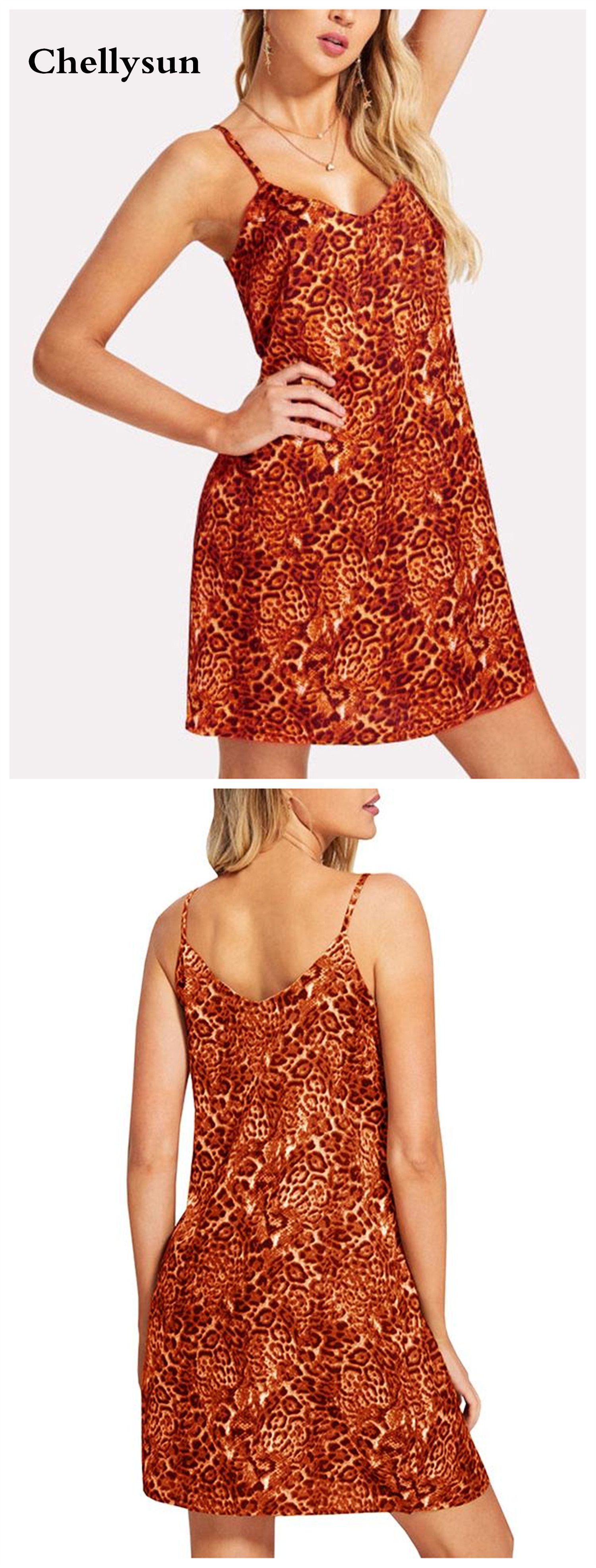Women suspender leopard print cami dress vestiditos pinterest