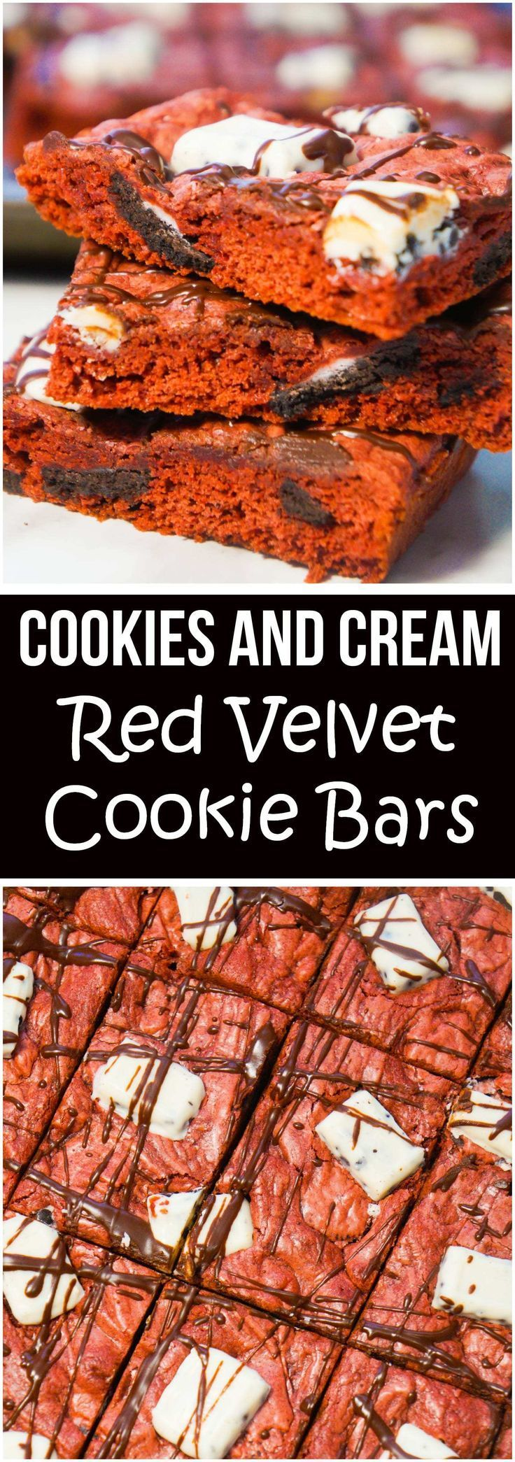 Cookies and Cream Red Velvet Cookie Bars are an easy