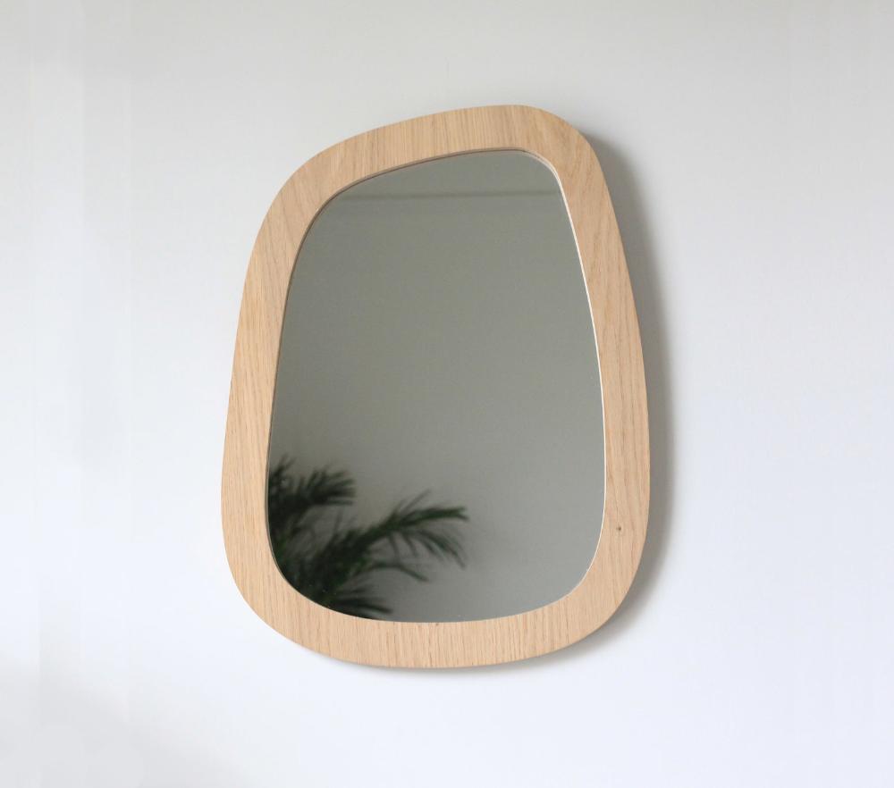 Wall Mirror Medium Size Organic Shape Oak Veneered Plywood In
