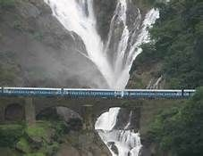 'Dudhsagar' Falls (literally 'Sea-of-Milk' ) is a waterfall located on the Mandovi River in the Indian state of Goa - on Goa's border with Karnataka state. As the cascading waters appear white like milk, the waterfall is called 'Dudhsagar', 'Doodh'being the Hindi word for milk.. It is a four-tiered waterfall and is about 60 km from Panaji city by road and 46 km from Madgaon railway junction by train.