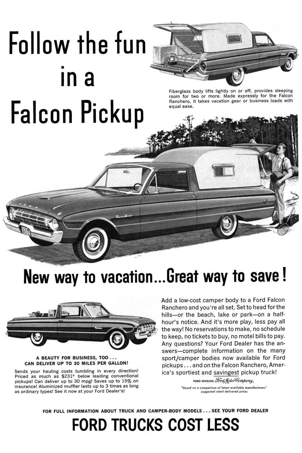 1961 Ford Ranchero Poster Size Advert by AtomicScrapbook on Etsy ...