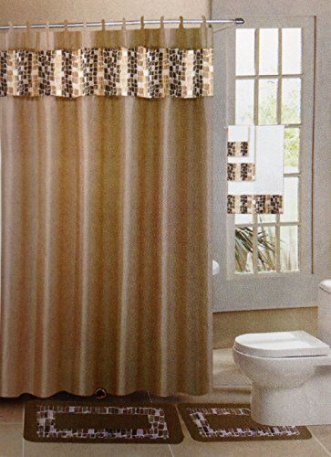 18 Piece Jacquard Bathroom Set 2 Rugs Mats 1 Fabric Shower