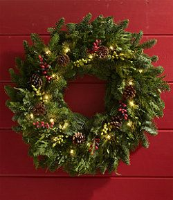 Woodland Berry Wreath Lighted 24 Free Shipping At L L Bean Christmas Wreaths Types Of Christmas Trees Christmas Decorations